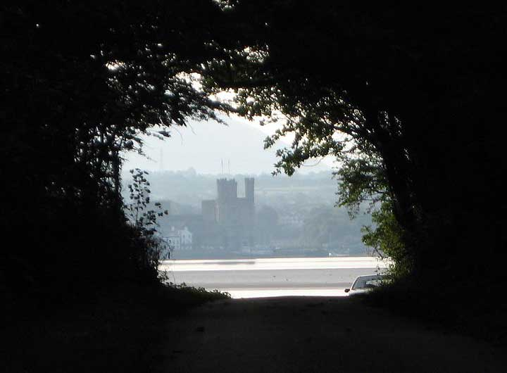 View of Caernarfon through Trees